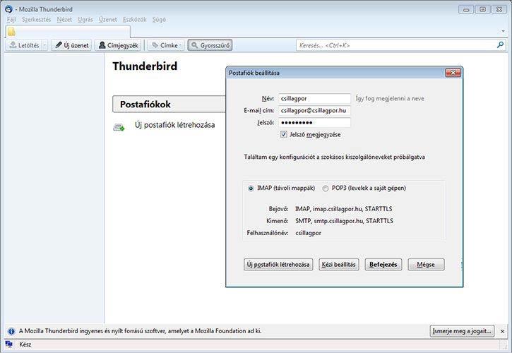 Thunderbird automatikus beállítások