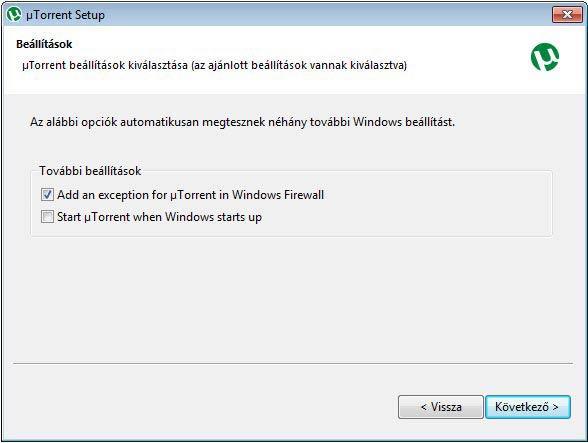 µTorrent automatikus beállítás