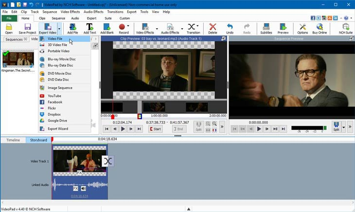 VideoPad video export