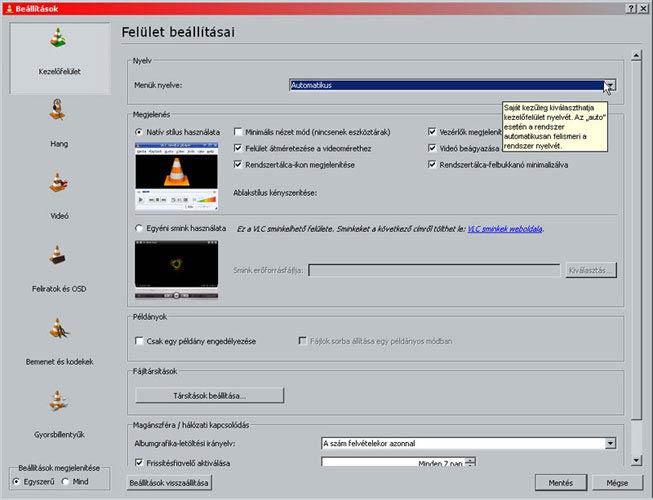VLC media player felület beállítások