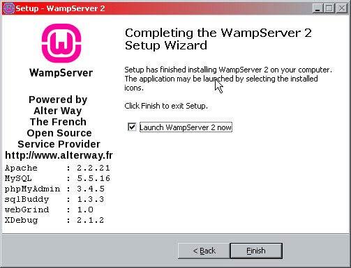 WampServer telepítés kész