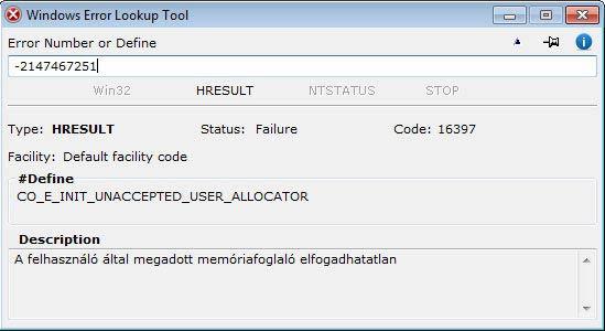Windows Error Lookup Tool - előjeles decimális