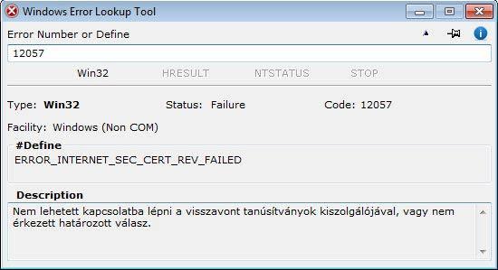 Windows Error Lookup Tool - decimális win32