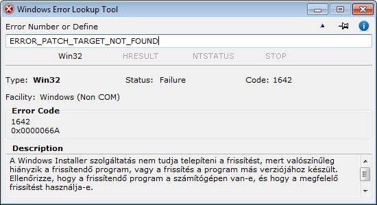 Windows Error Lookup Tool - szöveges kód