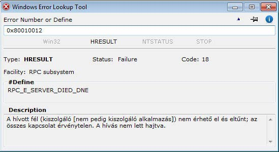 Windows Error Lookup Tool - nem elérhető