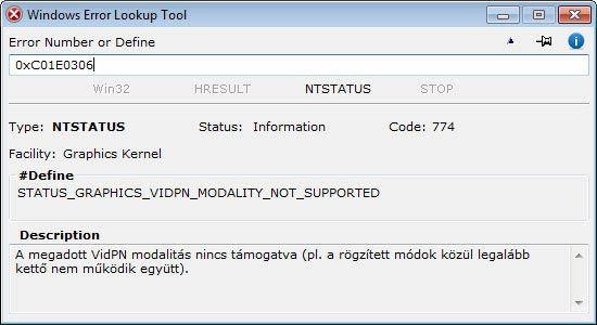 Windows Error Lookup Tool - grafikus kernel hiba
