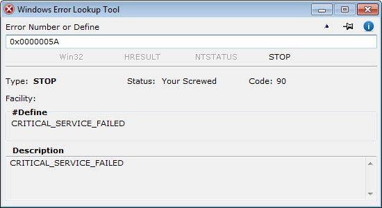 Windows Error Lookup Tool - STOP kód