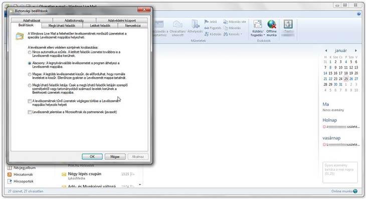 Windows Live Mail biztonság