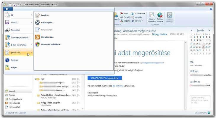 Windows Live Mail beállítások