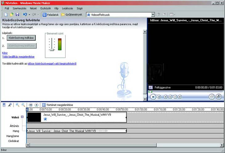 Windows Movie Maker kísérőszöveg
