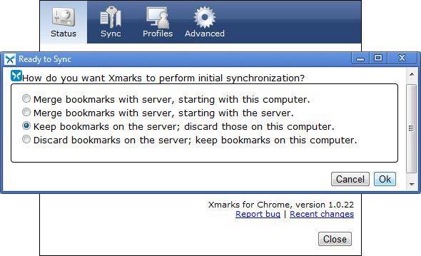 Xmarks szinkronizálás