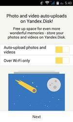 Yandex.Disk Androidon, fotó és videó feltöltés