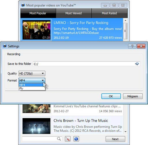 SMPlayer YouTube browser, mp4 vagy flv