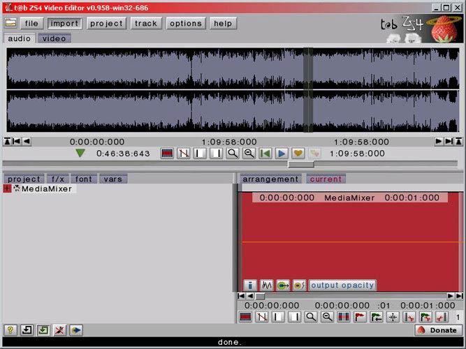 ZS4 Video Editor hangsáv