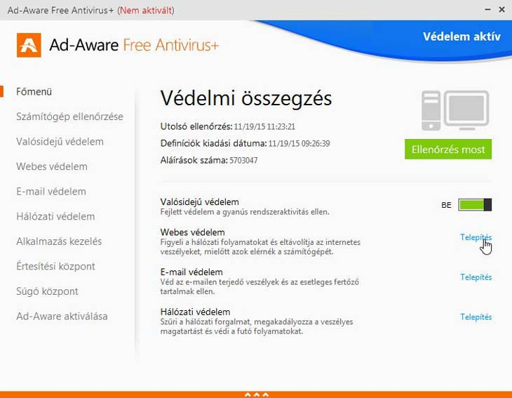 Ad-Aware Free Antivirus+ védelem