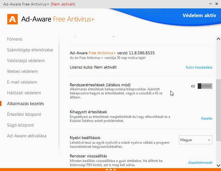 Ad-Aware Free Antivirus+ verzió