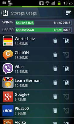 AVG Antivirus Free for Android tárterület