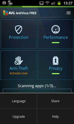 AVG Antivirus Free for Android opciók