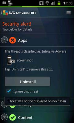 AVG Antivirus Free for Android haggyad csak