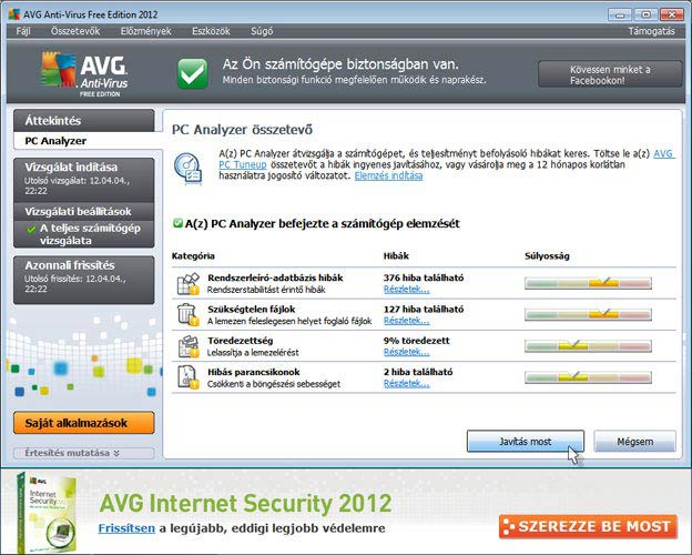 AVG Antivirus Free PC Analyzer