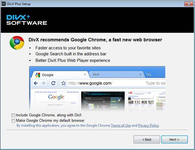 DivX Plus Software, Google Chrome