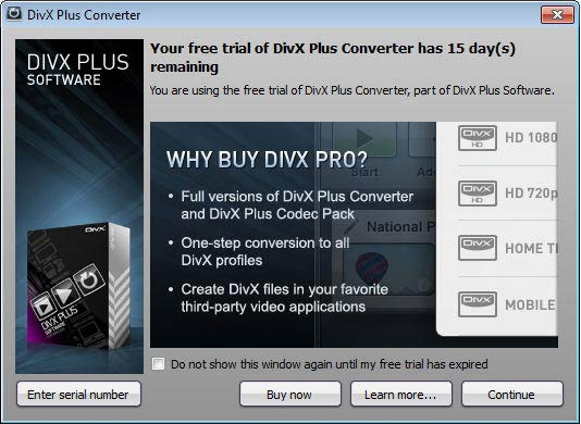 DivX Plus Software Converter próbaverzió