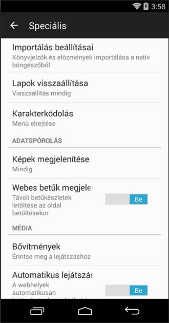 Firefox Android speciális