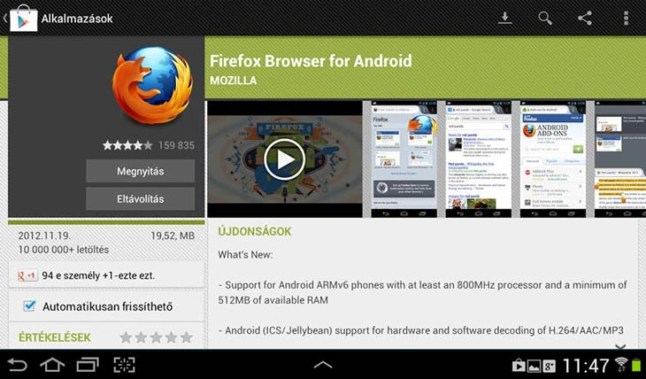 Firefox for Android megnyitás