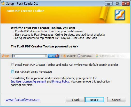 Foxit Reader toolbar