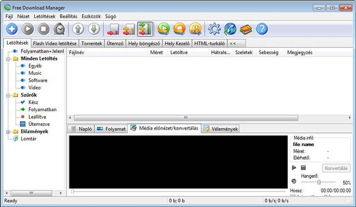 Free Download Manager média előnézet