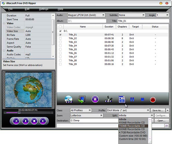 iMacsoft Free DVD Ripper split
