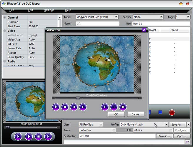 iMacsoft Free DVD Ripper video trim