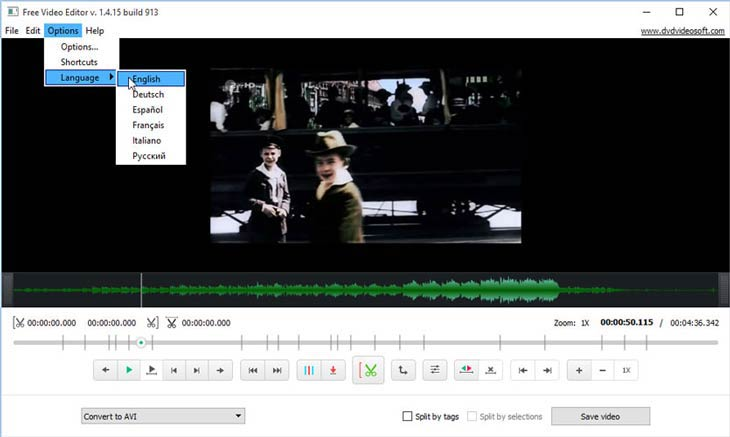 Free Video Editor nyelvek