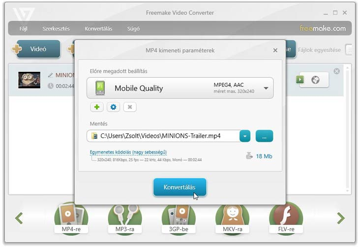 Freemake Video Converter mobil mp4