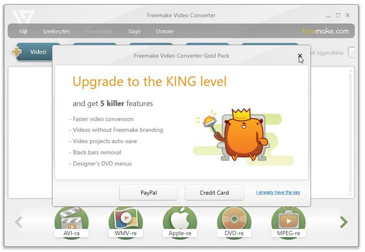 Freemake Video Converter koronás medve