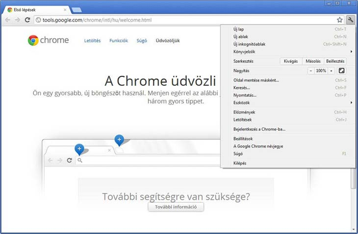 Google Chrome üdvözlet