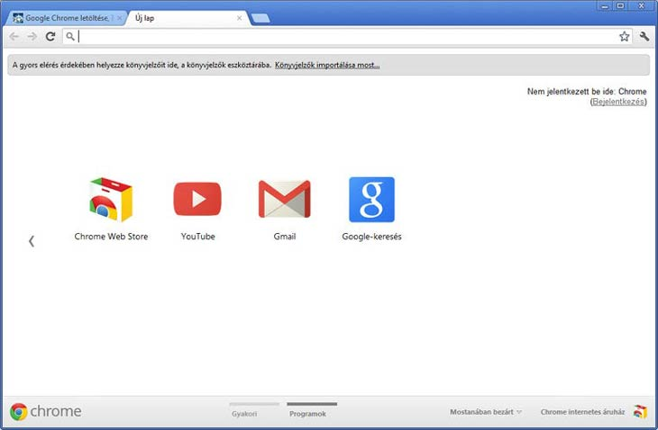 Google Chrome programok