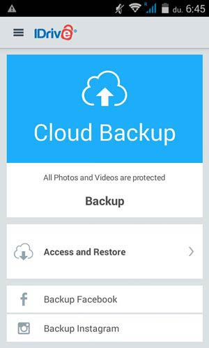 IDrive Facebook és Instagram backup