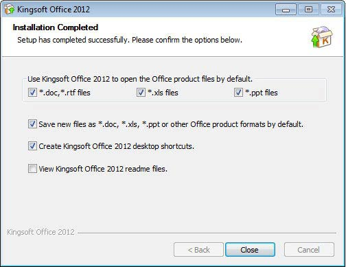 Kingsoft Office Suite Free 2012 MS Office fájlok