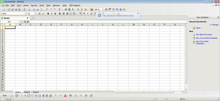 Kingsoft Office Suite Free 2012 Spreadsheets
