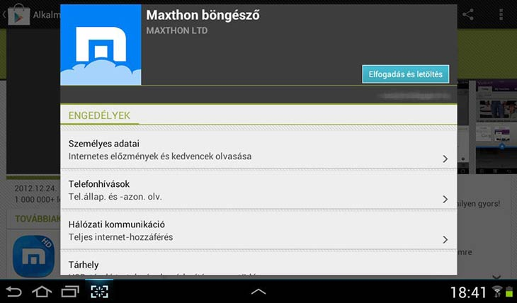 Maxthon for Android engedély