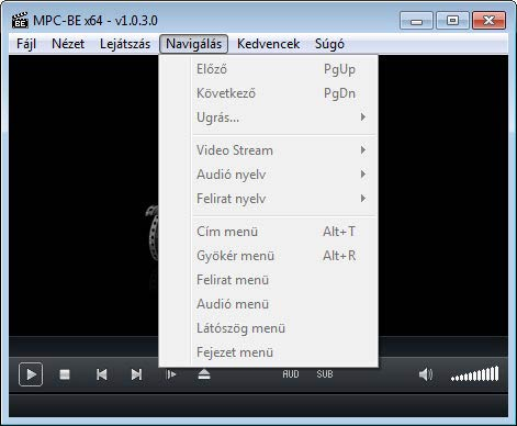 Media Player Classic - BE navigálás