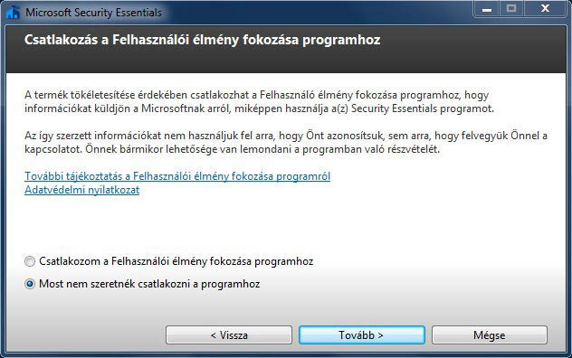 Microsoft Security Essentials telepítés