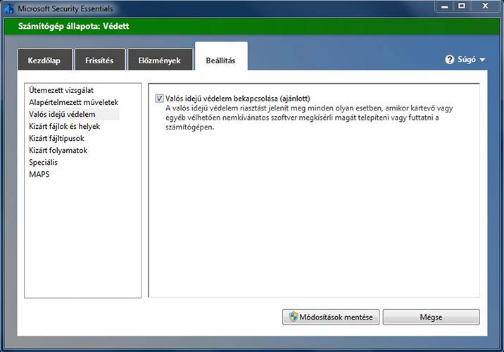 Microsoft Security Essentials valósidejű védelem