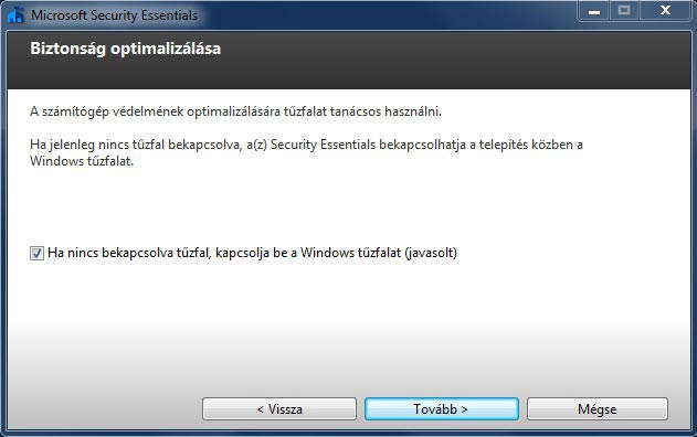 Microsoft Security Essentials tűzfal