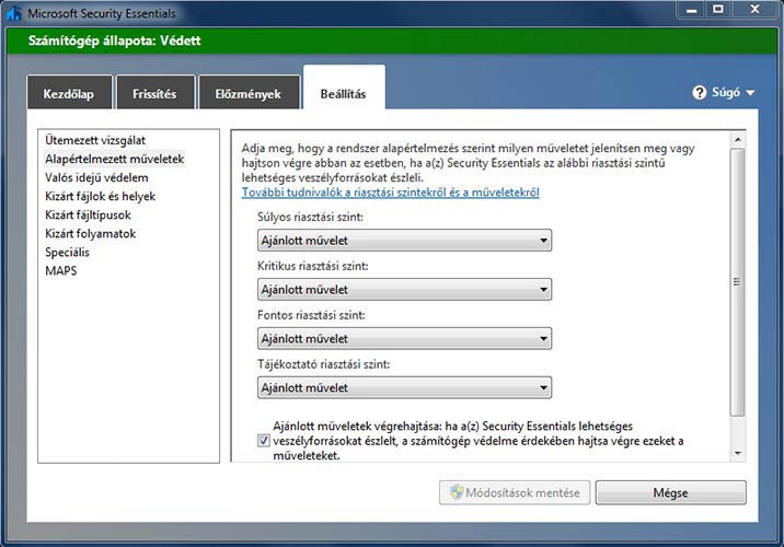 Microsoft Security Essentials riasztás
