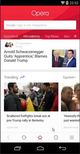 Opera for Android kezdőlap