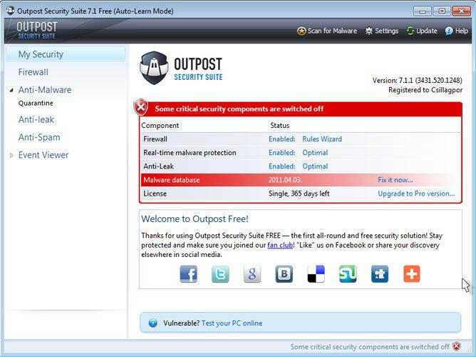 Outpost Security Suite Free védelmi program