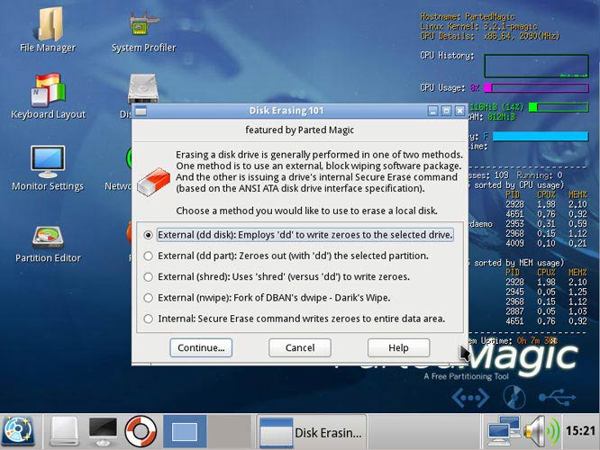 Parted Magic Disk Erasing