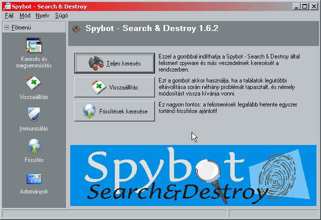 Spybot – Search & Destroy nyitóoldal